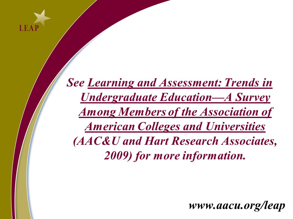 See Learning and Assessment: Trends in Undergraduate Education—A Survey Among Members of the Association of American Colleges and Universities (AAC&U and Hart Research Associates, 2009) for more information.