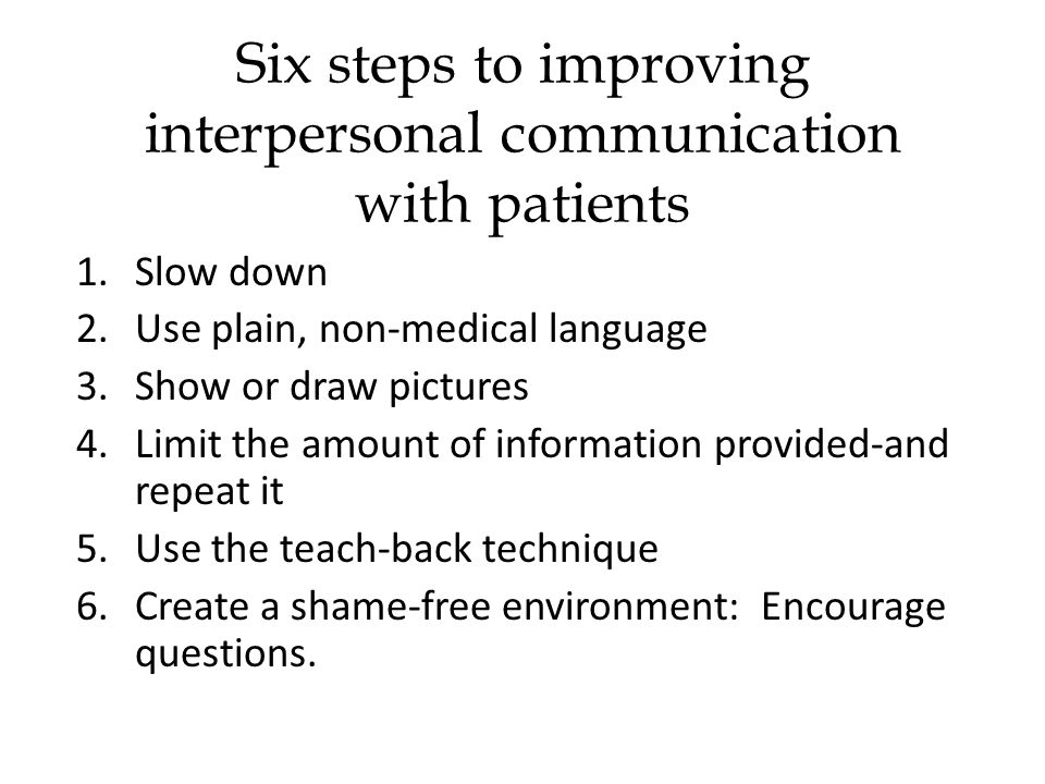 1.Slow down 2.Use plain, non-medical language 3.Show or draw pictures 4.Limit the amount of information provided-and repeat it 5.Use the teach-back technique 6.Create a shame-free environment: Encourage questions.