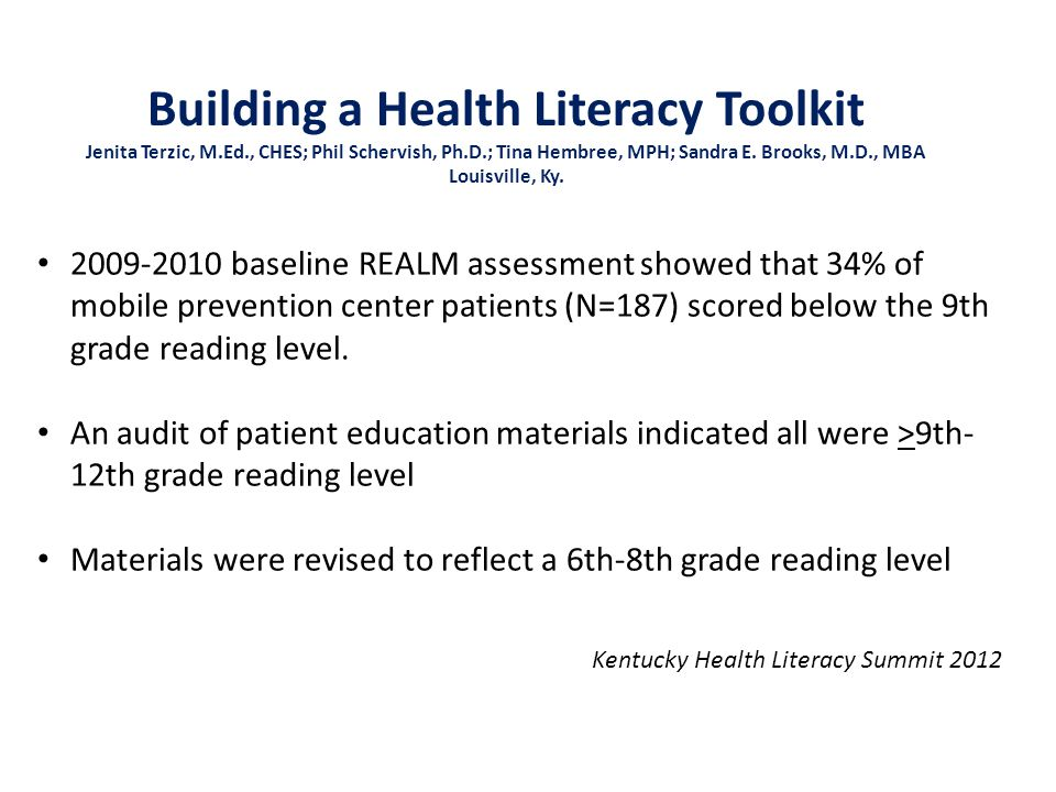 2009-2010 baseline REALM assessment showed that 34% of mobile prevention center patients (N=187) scored below the 9th grade reading level.