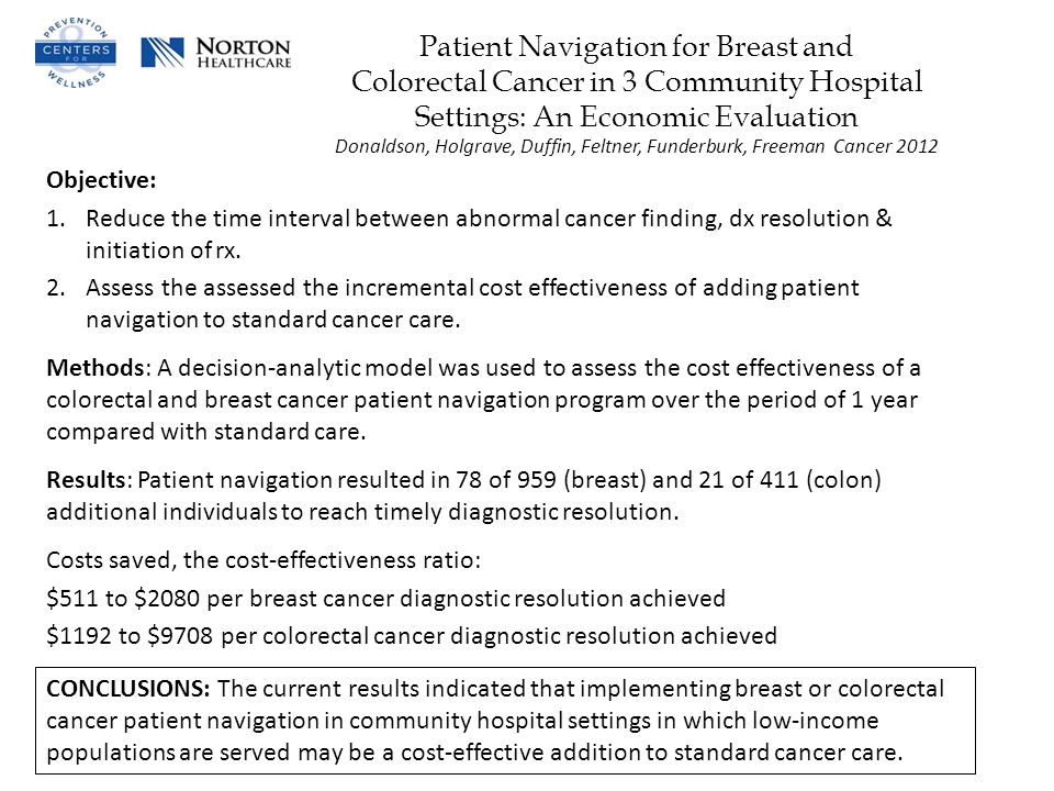 Patient Navigation for Breast and Colorectal Cancer in 3 Community Hospital Settings: An Economic Evaluation Donaldson, Holgrave, Duffin, Feltner, Funderburk, Freeman Cancer 2012 Objective: 1.Reduce the time interval between abnormal cancer finding, dx resolution & initiation of rx.