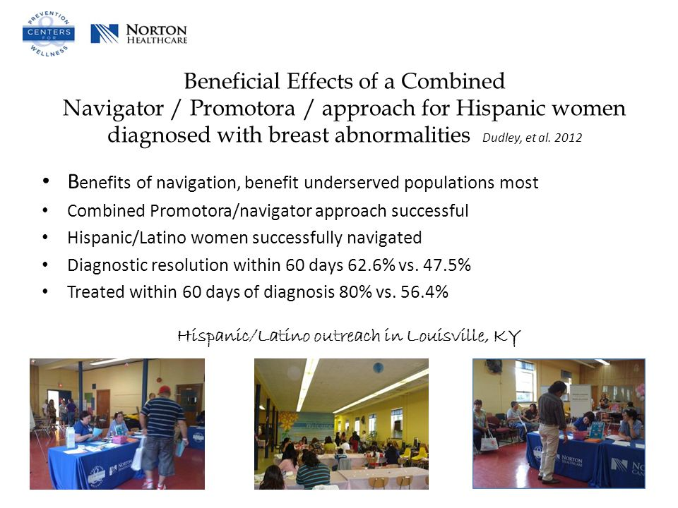 Beneficial Effects of a Combined Navigator / Promotora / approach for Hispanic women diagnosed with breast abnormalities Dudley, et al.