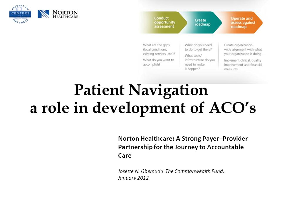 Patient Navigation a role in development of ACO's Norton Healthcare: A Strong Payer–Provider Partnership for the Journey to Accountable Care Josette N.