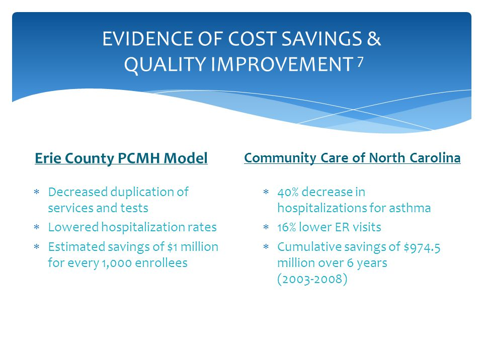 EVIDENCE OF COST SAVINGS & QUALITY IMPROVEMENT 7 Erie County PCMH Model  Decreased duplication of services and tests  Lowered hospitalization rates  Estimated savings of $1 million for every 1,000 enrollees Community Care of North Carolina  40% decrease in hospitalizations for asthma  16% lower ER visits  Cumulative savings of $974.5 million over 6 years (2003-2008)