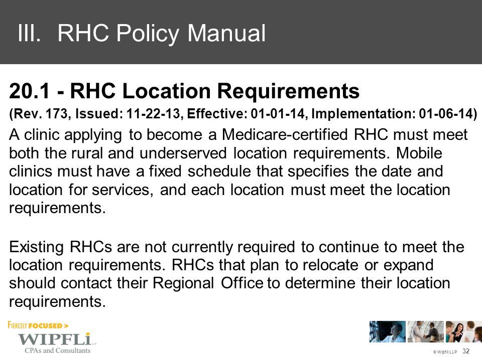20.1 - RHC Location Requirements (Rev.