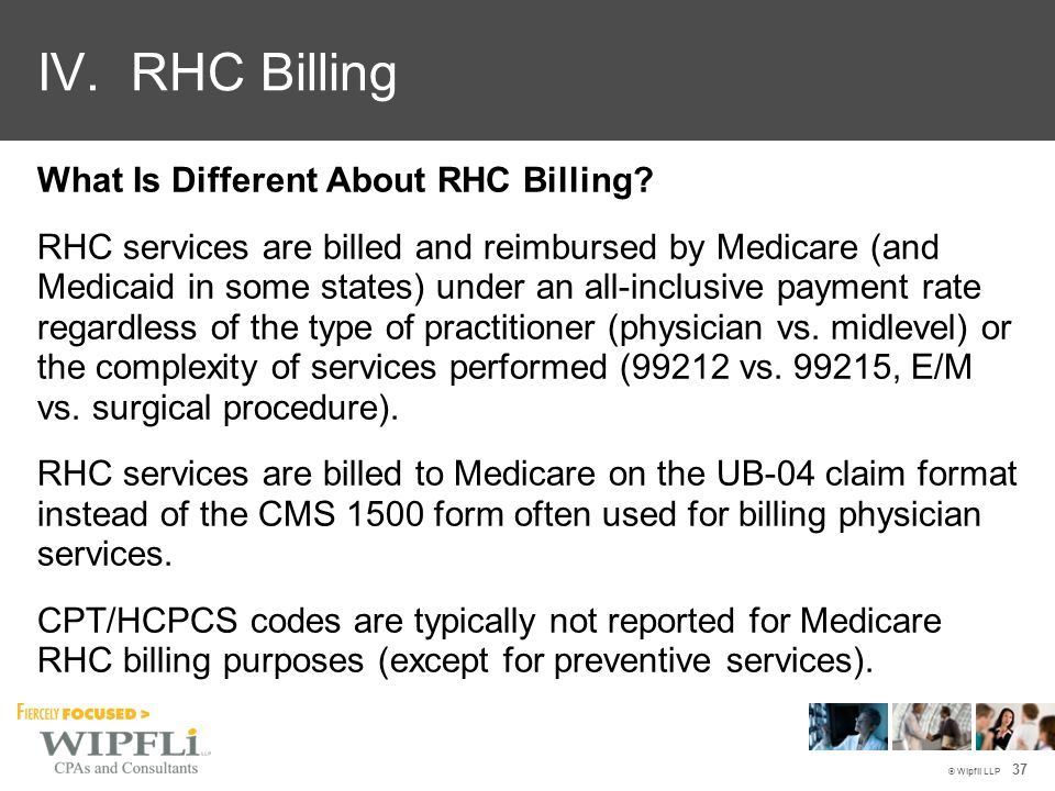 IV. RHC Billing 37 What Is Different About RHC Billing.