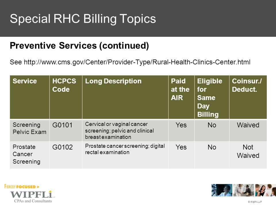 © Wipfli LLP Preventive Services (continued) See http://www.cms.gov/Center/Provider-Type/Rural-Health-Clinics-Center.html ServiceHCPCS Code Long Descr