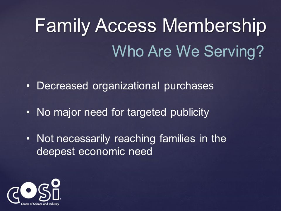 Family Access Membership Who Are We Serving? Decreased organizational purchases No major need for targeted publicity Not necessarily reaching families