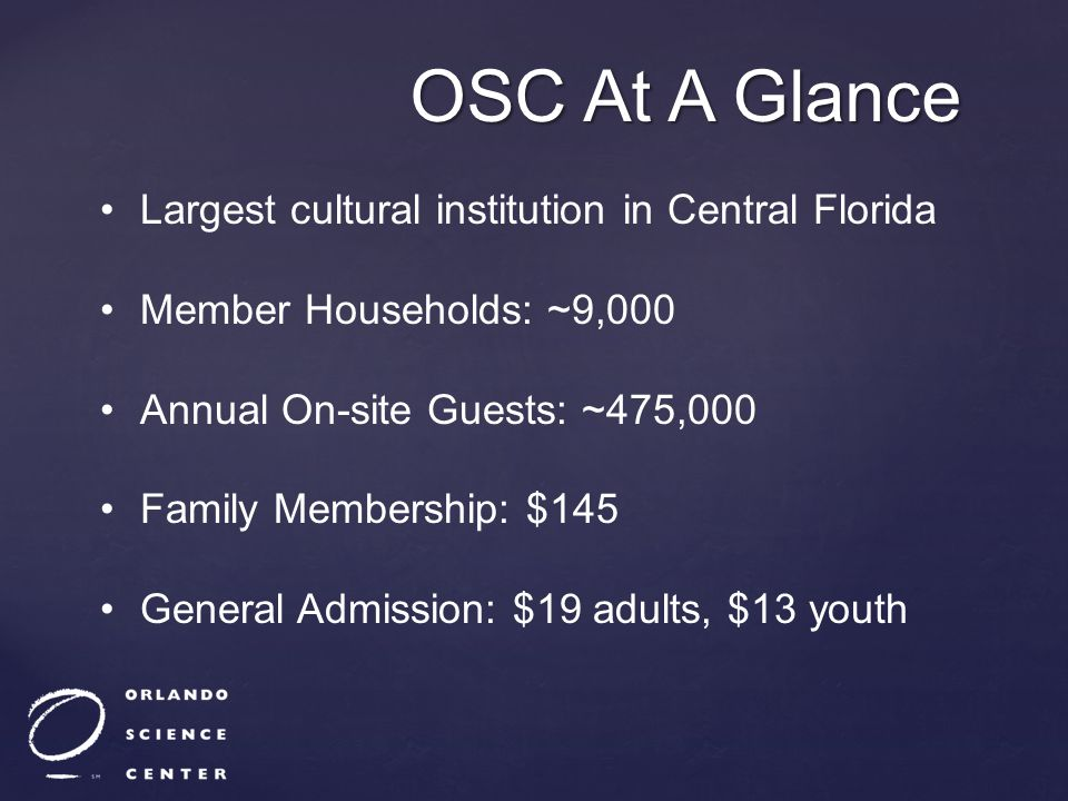 OSC At A Glance Largest cultural institution in Central Florida Member Households: ~9,000 Annual On-site Guests: ~475,000 Family Membership: $145 Gene