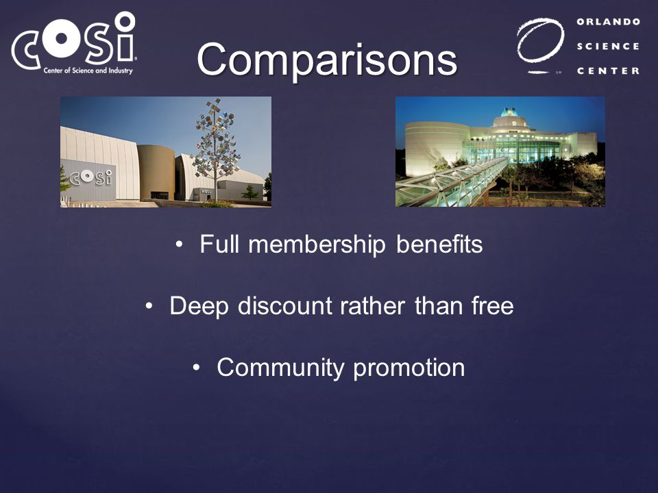 Comparisons Full membership benefits Deep discount rather than free Community promotion
