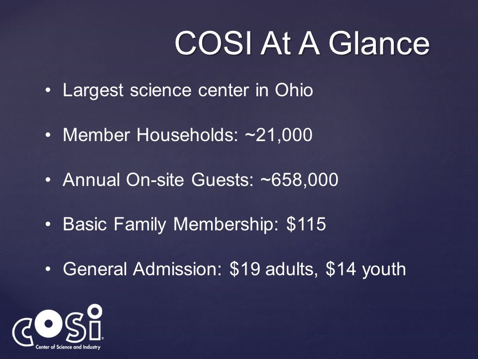 COSI At A Glance Largest science center in Ohio Member Households: ~21,000 Annual On-site Guests: ~658,000 Basic Family Membership: $115 General Admis