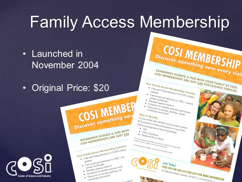 Family Access Membership Launched in November 2004 Original Price: $20
