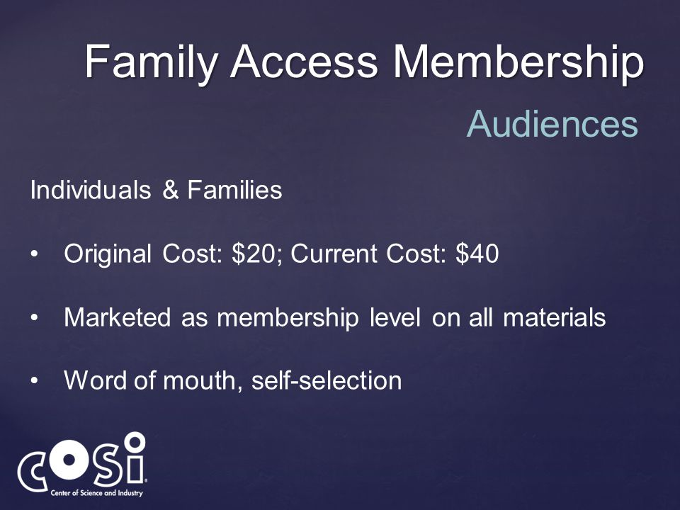 Family Access Membership Individuals & Families Original Cost: $20; Current Cost: $40 Marketed as membership level on all materials Word of mouth, sel