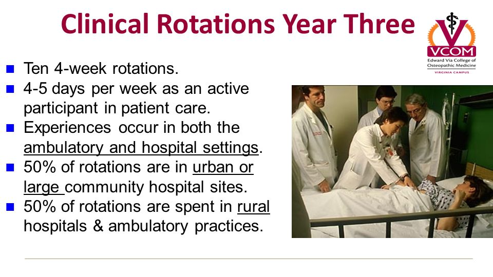 Clinical Rotations Year Three Ten 4-week rotations.