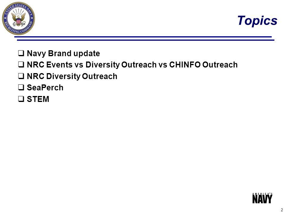 Topics  Navy Brand update  NRC Events vs Diversity Outreach vs CHINFO Outreach  NRC Diversity Outreach  SeaPerch  STEM 2