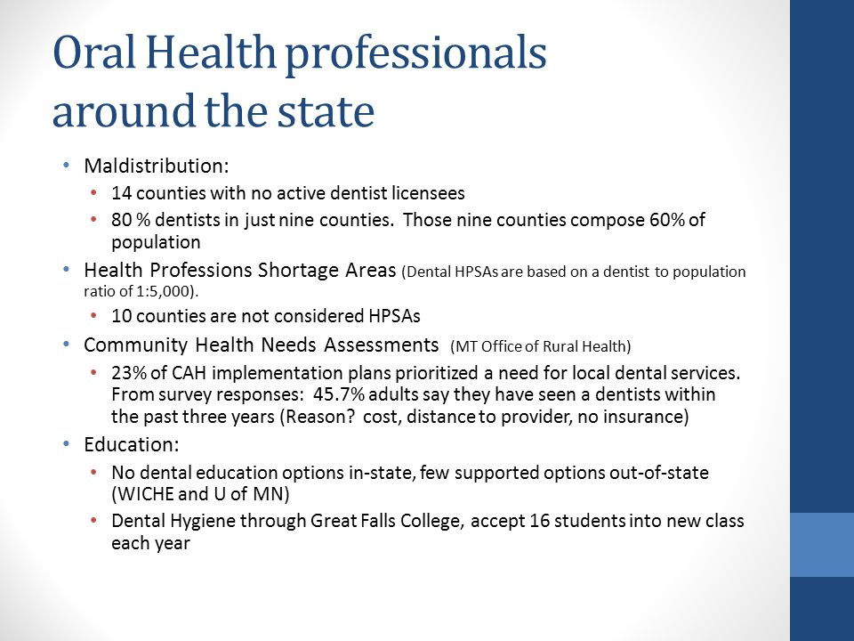 Oral Health professionals around the state Maldistribution: 14 counties with no active dentist licensees 80 % dentists in just nine counties.