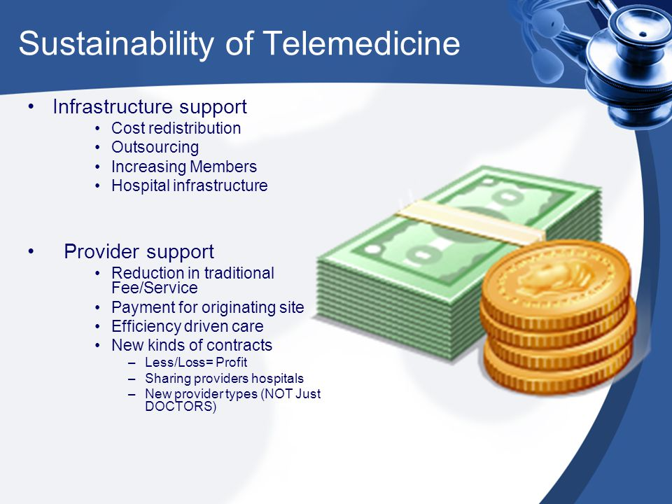 Sustainability of Telemedicine Infrastructure support Cost redistribution Outsourcing Increasing Members Hospital infrastructure Provider support Reduction in traditional Fee/Service Payment for originating site Efficiency driven care New kinds of contracts –Less/Loss= Profit –Sharing providers hospitals –New provider types (NOT Just DOCTORS)