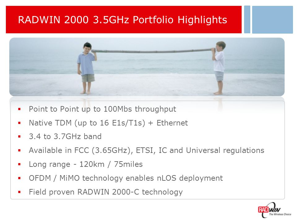 RADWIN 2000 3.5GHz Portfolio Product Series Max.