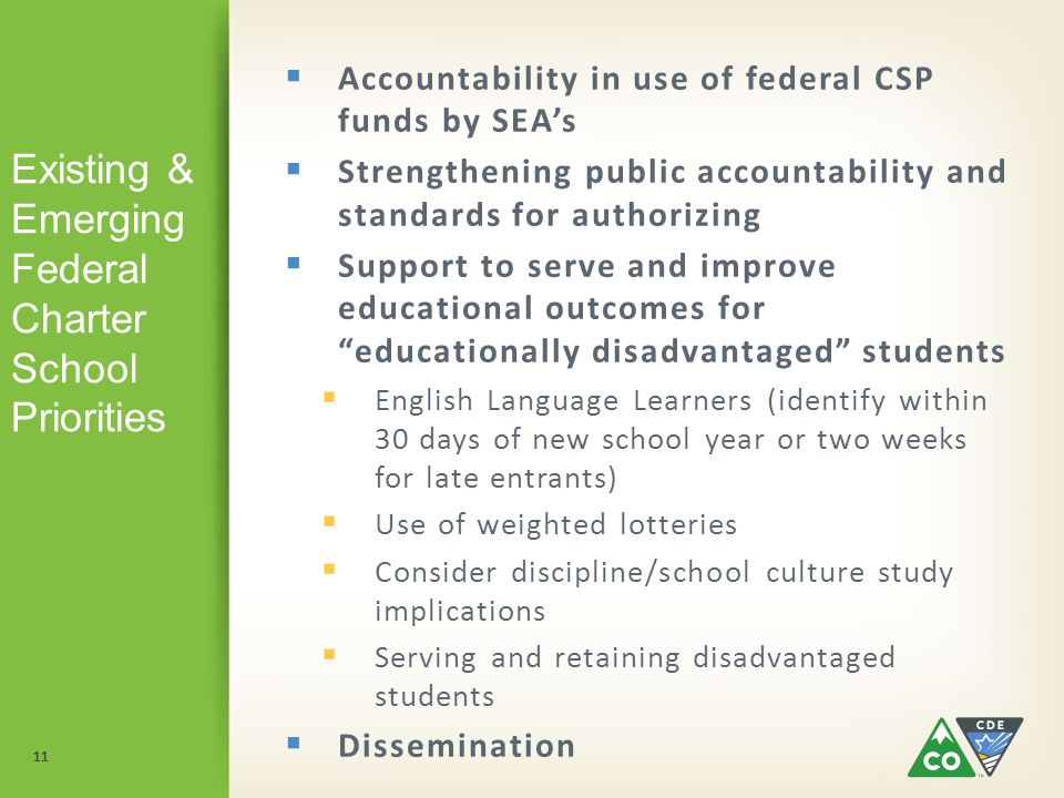 11 Existing & Emerging Federal Charter School Priorities  Accountability in use of federal CSP funds by SEA's  Strengthening public accountability and standards for authorizing  Support to serve and improve educational outcomes for educationally disadvantaged students  English Language Learners (identify within 30 days of new school year or two weeks for late entrants)  Use of weighted lotteries  Consider discipline/school culture study implications  Serving and retaining disadvantaged students  Dissemination