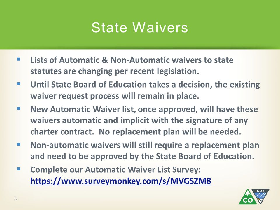 Common Questions:  My school is about to receive a new or renewal charter contract; how will I know which set of automatic waivers (old or new) apply to me.