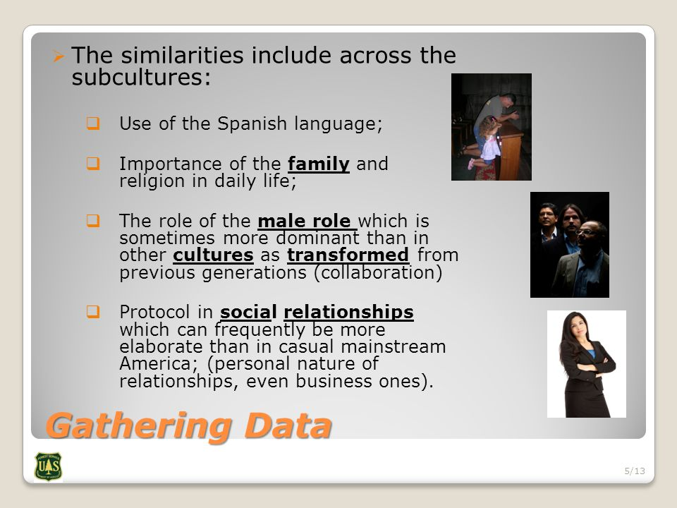 Gathering Data  The similarities include across the subcultures:  Use of the Spanish language;  Importance of the family and religion in daily life;  The role of the male role which is sometimes more dominant than in other cultures as transformed from previous generations (collaboration)  Protocol in social relationships which can frequently be more elaborate than in casual mainstream America; (personal nature of relationships, even business ones).