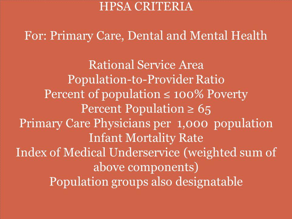 HPSAS OF GREATEST NEED AND HPSA SCORES HPSA scores determine HPSA's of greatest need.
