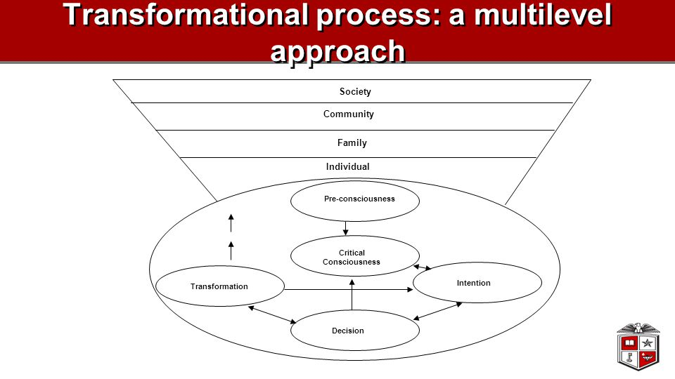 Transformational process: a multilevel approach Pre-consciousness Critical Consciousness Intention Decision Transformation Society Community Family In