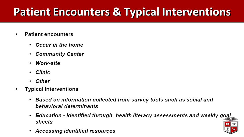 Patient Encounters & Typical Interventions Patient encounters Occur in the home Community Center Work-site Clinic Other Typical Interventions Based on information collected from survey tools such as social and behavioral determinants Education - Identified through health literacy assessments and weekly goal sheets Accessing identified resources