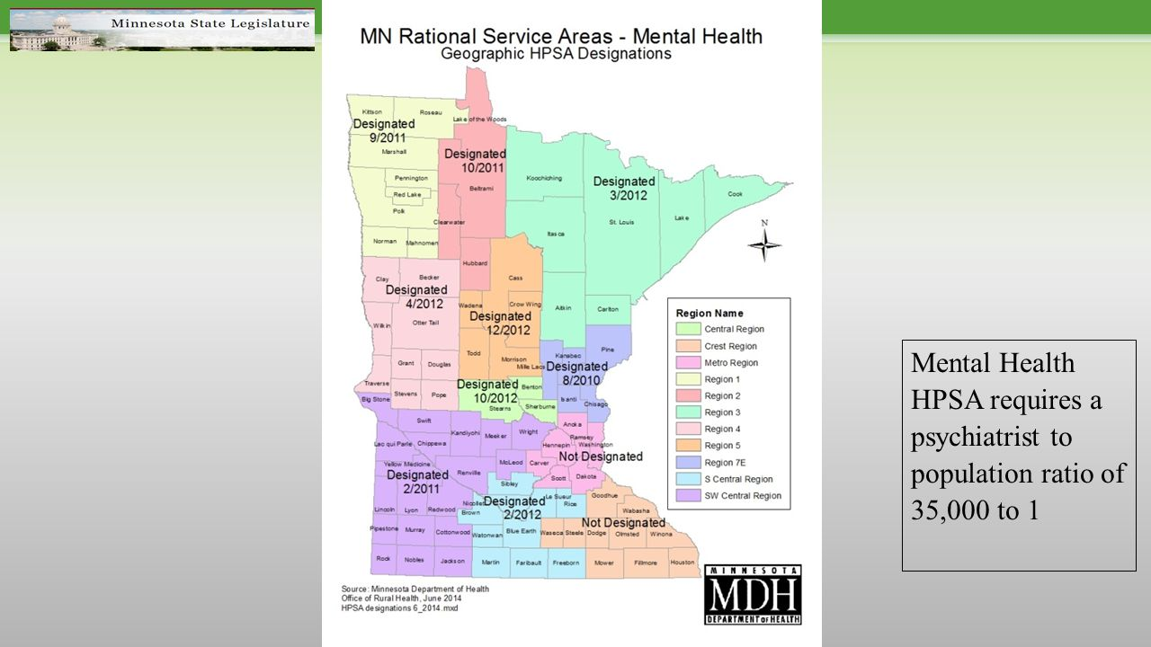 Mental Health HPSA requires a psychiatrist to population ratio of 35,000 to 1