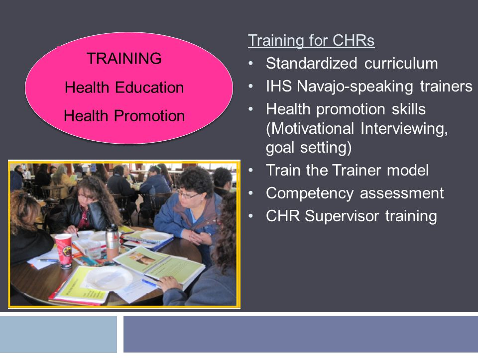 Training for CHRs Standardized curriculum IHS Navajo-speaking trainers Health promotion skills (Motivational Interviewing, goal setting) Train the Trainer model Competency assessment CHR Supervisor training TRAINING Health Education Health Promotion