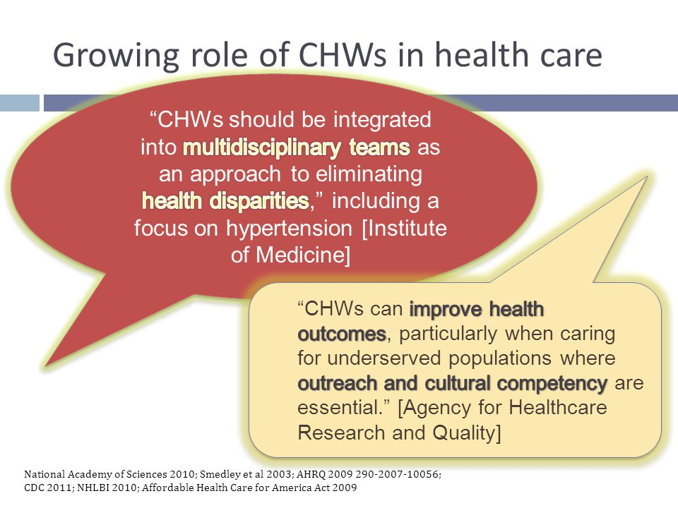 Growing role of CHWs in health care National Academy of Sciences 2010; Smedley et al 2003; AHRQ 2009 290-2007-10056; CDC 2011; NHLBI 2010; Affordable Health Care for America Act 2009 CHWs should be integrally included in diabetes management. [CDC] CHWs should be integrally included in diabetes management. [CDC] Addressing health disparities should include community health workers targeting minority populations including cardiovascular diseases.