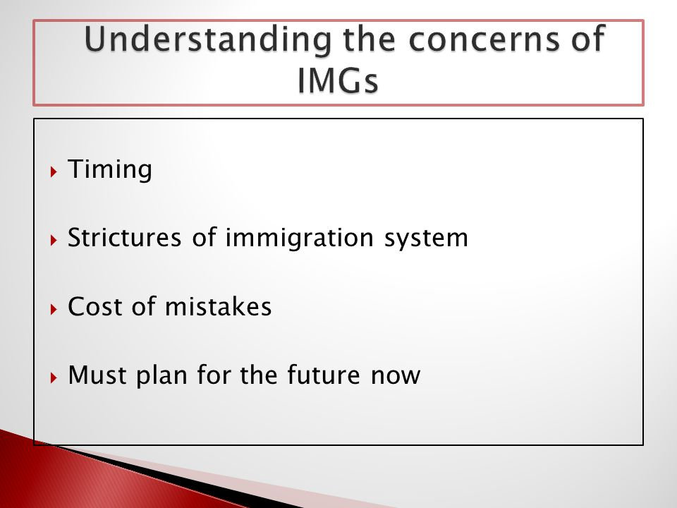  Timing  Strictures of immigration system  Cost of mistakes  Must plan for the future now