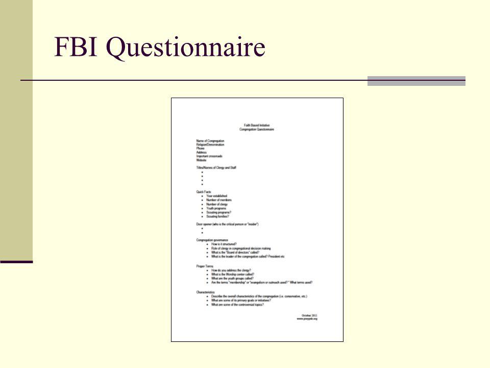 FBI Questionnaire