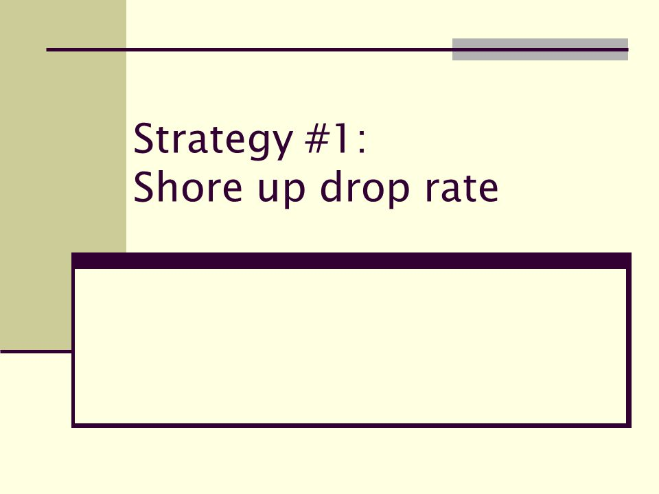Strategy #1: Shore up drop rate
