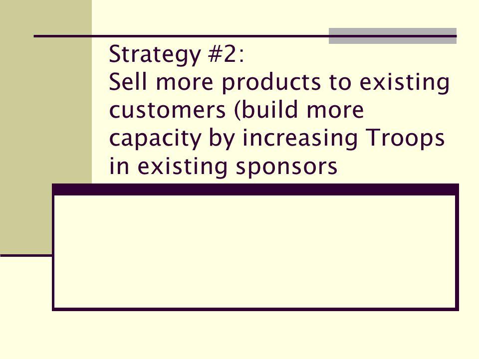 Strategy #2: Sell more products to existing customers (build more capacity by increasing Troops in existing sponsors