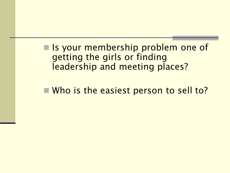 Is your membership problem one of getting the girls or finding leadership and meeting places.
