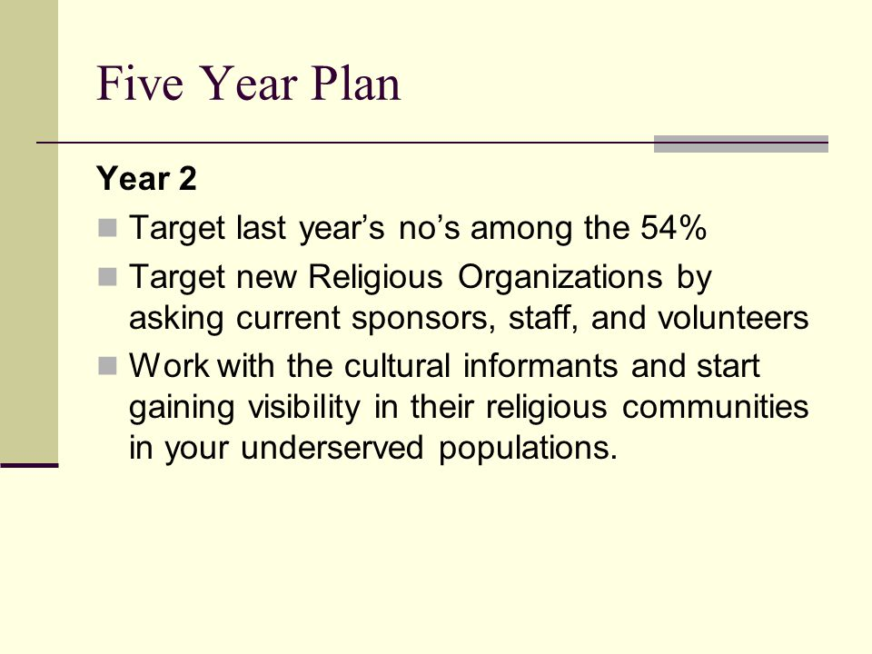 Five Year Plan Year 2 Target last year's no's among the 54% Target new Religious Organizations by asking current sponsors, staff, and volunteers Work with the cultural informants and start gaining visibility in their religious communities in your underserved populations.