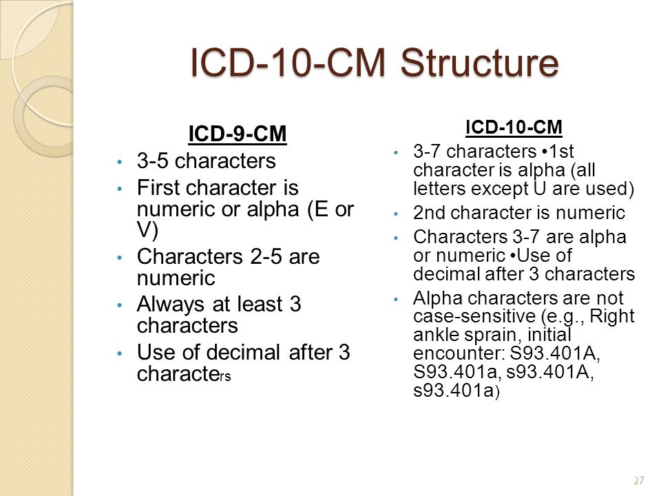 ICD-10-CM Structure ICD-9-CM 3-5 characters First character is numeric or alpha (E or V) Characters 2-5 are numeric Always at least 3 characters Use o