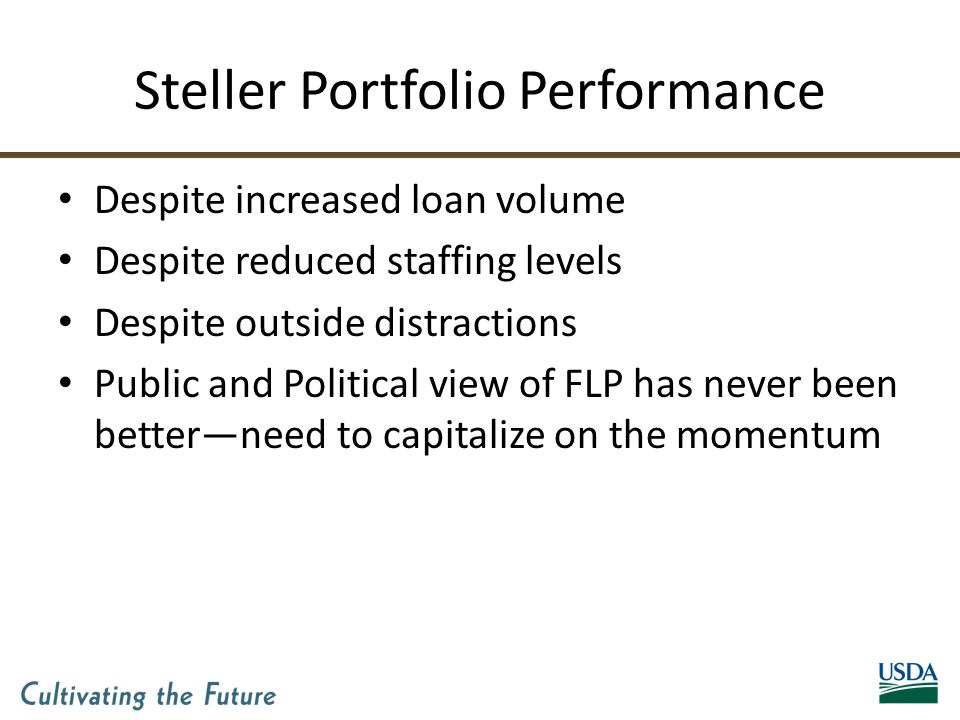 Steller Portfolio Performance Despite increased loan volume Despite reduced staffing levels Despite outside distractions Public and Political view of FLP has never been better—need to capitalize on the momentum