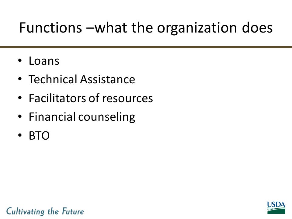 Functions –what the organization does Loans Technical Assistance Facilitators of resources Financial counseling BTO