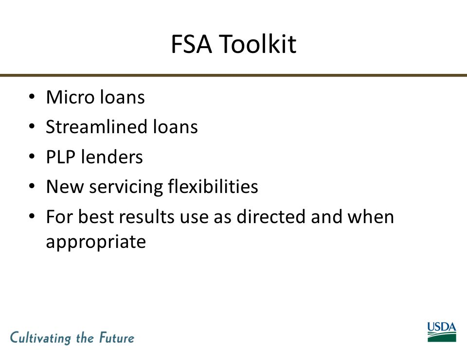 FSA Toolkit Micro loans Streamlined loans PLP lenders New servicing flexibilities For best results use as directed and when appropriate