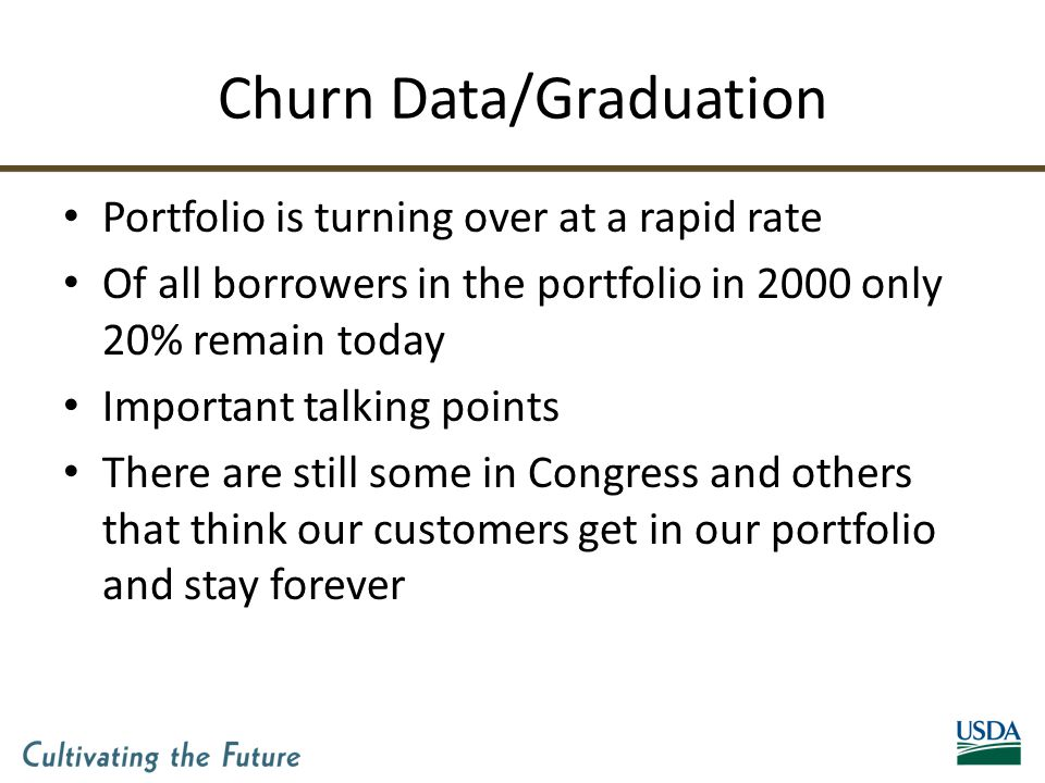 Churn Data/Graduation Portfolio is turning over at a rapid rate Of all borrowers in the portfolio in 2000 only 20% remain today Important talking points There are still some in Congress and others that think our customers get in our portfolio and stay forever
