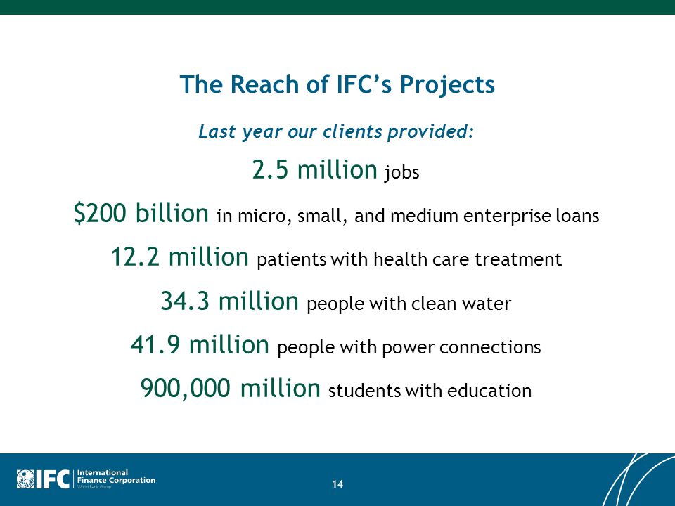 14 2.5 million jobs $200 billion in micro, small, and medium enterprise loans 12.2 million patients with health care treatment 34.3 million people wit