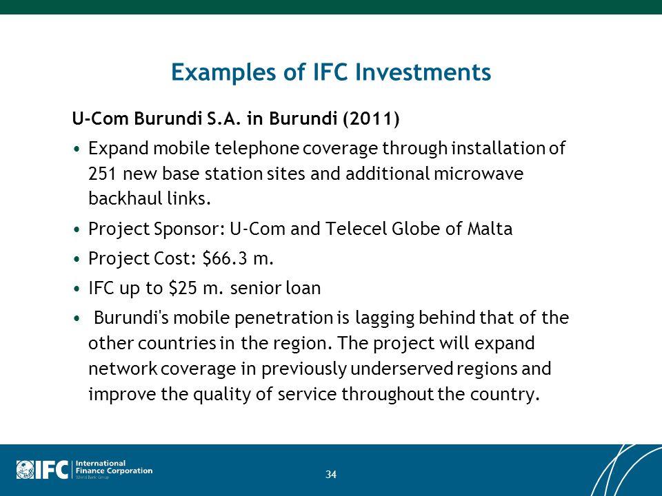 34 Examples of IFC Investments U-Com Burundi S.A.