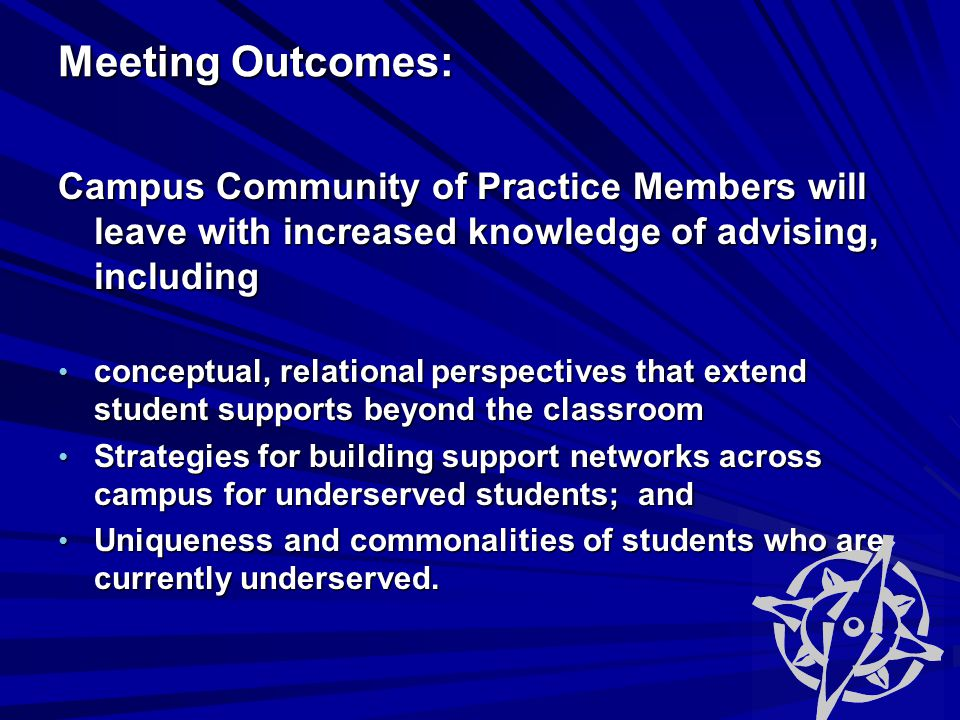 Meeting Outcomes: Meeting Outcomes: Campus Community of Practice Members will leave with increased knowledge of advising, including conceptual, relational perspectives that extend student supports beyond the classroom conceptual, relational perspectives that extend student supports beyond the classroom Strategies for building support networks across campus for underserved students; and Strategies for building support networks across campus for underserved students; and Uniqueness and commonalities of students who are currently underserved.