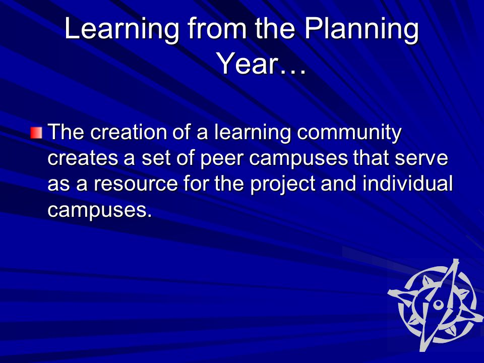 Learning from the Planning Year… The creation of a learning community creates a set of peer campuses that serve as a resource for the project and individual campuses.