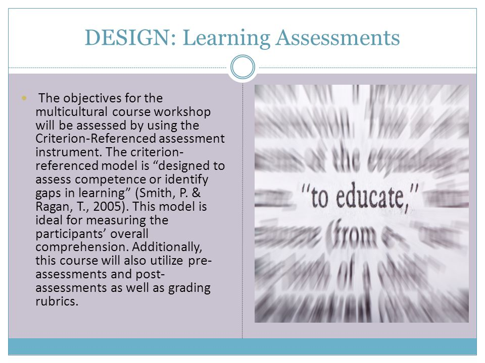 DESIGN: Learning Assessments The objectives for the multicultural course workshop will be assessed by using the Criterion-Referenced assessment instru