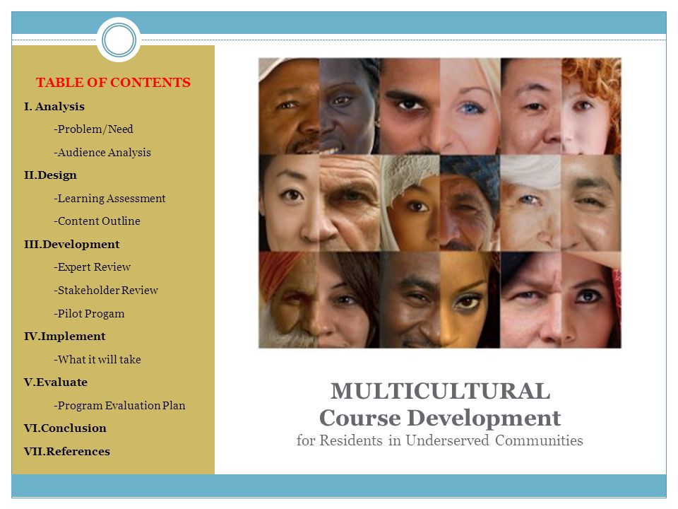 MULTICULTURAL Course Development for Residents in Underserved Communities TABLE OF CONTENTS I. Analysis -Problem/Need -Audience Analysis II.Design -Le