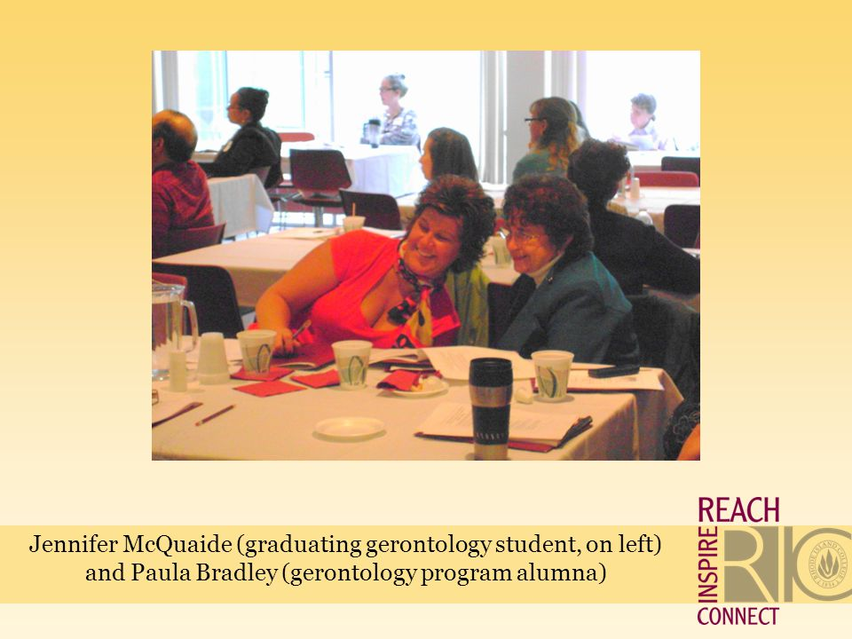 Jennifer McQuaide (graduating gerontology student, on left) and Paula Bradley (gerontology program alumna)