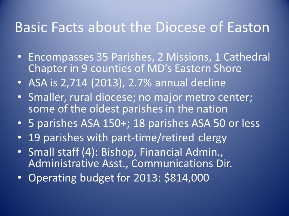 Basic Facts about the Diocese of Easton Encompasses 35 Parishes, 2 Missions, 1 Cathedral Chapter in 9 counties of MD's Eastern Shore ASA is 2,714 (201