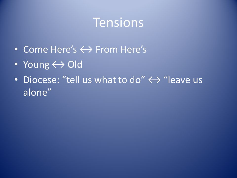 "Tensions Come Here's ↔ From Here's Young ↔ Old Diocese: ""tell us what to do"" ↔ ""leave us alone"""